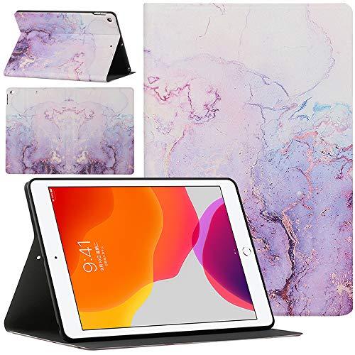 Sunily Cover per iPad 8a Generazione 2020 / iPad 7a Generazione 2019, Ultra Sottile Pelle Flip PU Custodia per iPad 10.2 pollici 2020 Cover Magnetico Stand Antiurto Case Tablet Cover, Marmo viola