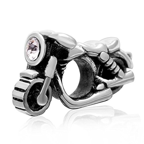 Breloque moto en argent sterling 925 pour bracelet de sport