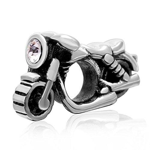 Charm-Anhänger Motorrad 925 Sterling Silber Sport Charm Reise Urlaub Charm Geburtstag Charm für Armband C