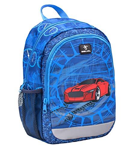 Belmil Kindergartenrucksack mit Brustgurt und Namensschild für 3-6 Jährige/Jungen / 12 L/Krippenrucksack Kindergartentasche Kindertasche/Rennauto/Rot, Blau (305-4/A Super Car)