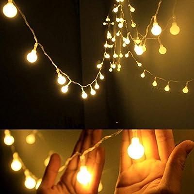 Perfecta decoración para la navidad, día de los reyes magos; portátil y segura, luces decorativas- luces de hadas globo 50 bombillas de led blanco cálido crean un ambiente suave Totalmente 17ft / 5,2m de largo, con pilas, requiere 3 baterías aa (no i...