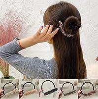 5Pcs Rhinestone Easy Bun Maker,Retro Rhinestone Ponytail Bun Hair Band,Easy Hairstyle Tool DIY Hair Styling Tool for Women Girls
