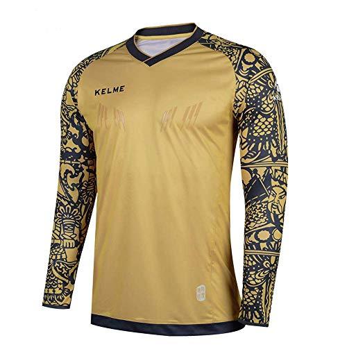 KELME Kids Padded Goalie Shirt, Youth Goalkeeper Jersey, Long Sleeve Turf Training Soccer Uniform (Gold, 160cm)