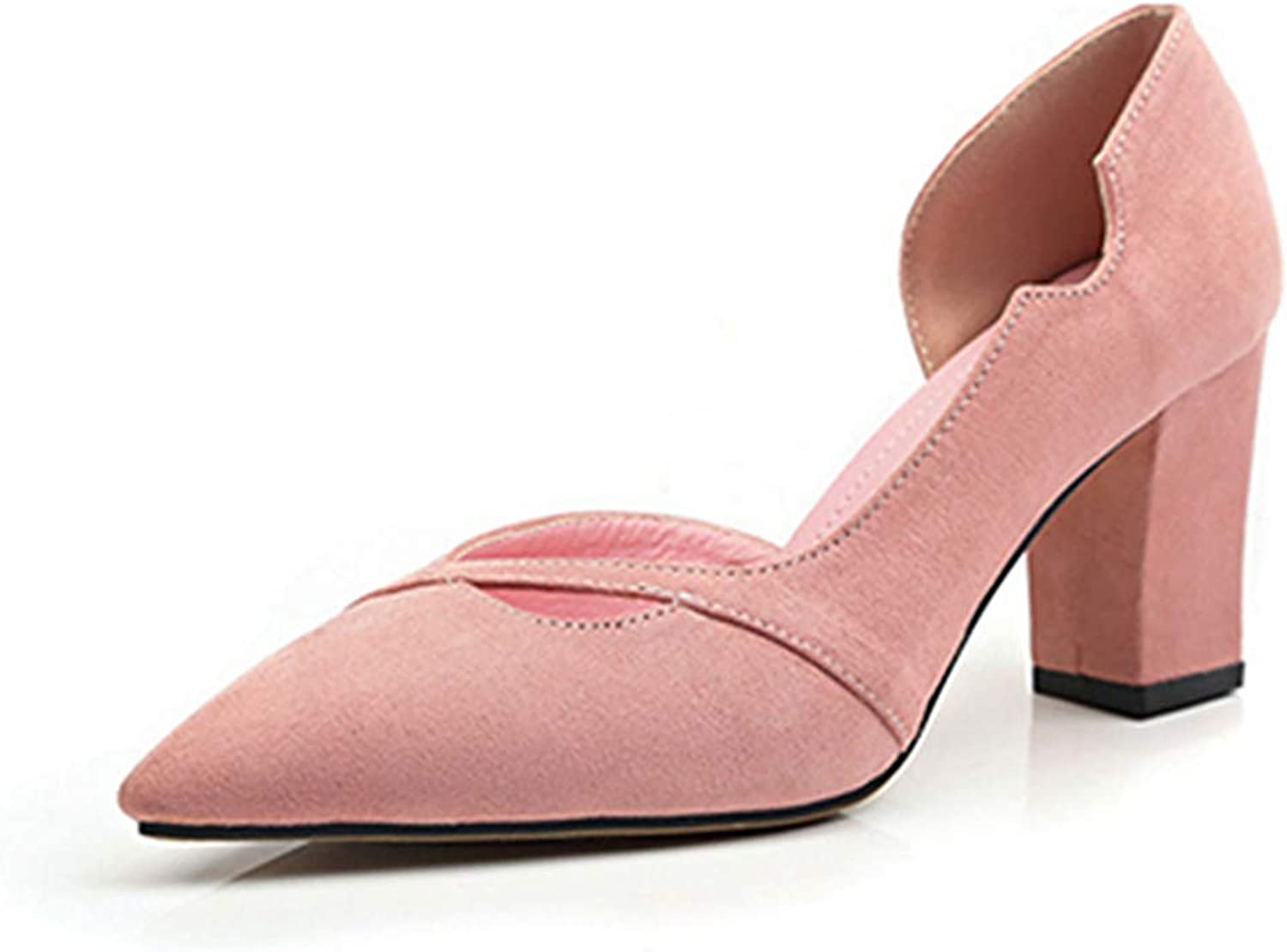 Kyle Walsh Pa Women's Elegant Pumps Block Heel Pointed Toe Ladies Slip-on Classic High-Heeled shoes