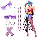 1980s Accesorios de Disfraces de Neón MEZOOM 6 piezas 80s Disfraces para Mujeres con Diadema de Encaje Guantes de Rejilla Calcetín Gafas Pendientes Collar para Fiesta de Cosplay Retro Carnaval