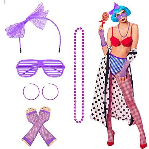 80 Jahre Kostüm Zubehör, MEZOOM 6STK Lila Neon Outfit Partyzubehör Damen Haarreif Fischnetz Handschuhe Ohrringe Brille Retro Cosplay Partykostüm für Karneval Fasching Party