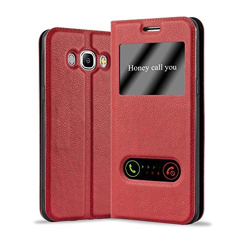 Cadorabo Funda Libro para Samsung Galaxy J5 2016 en Rojo AZRAFÁN - Cubierta Proteccíon con Cierre Magnético, Función de Suporte y 2 Ventanas- Etui Case Cover Carcasa