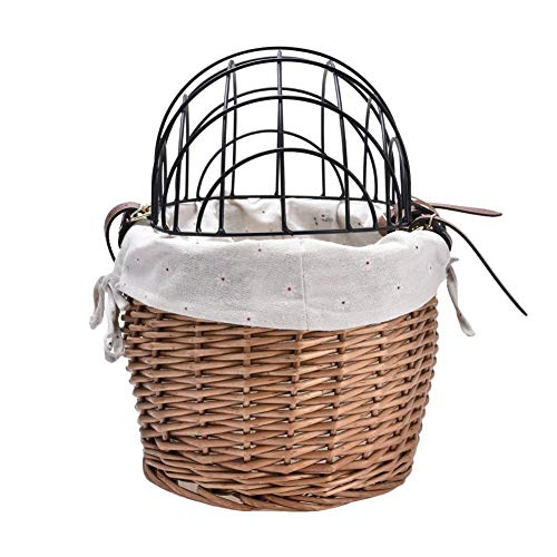 Freshdoll Pet Bicycle Basket Front Wicker Bicycle Basket Pet Bike Basket Small Pet Cat Dog Carrier Bicycle Handlebar Front Basket with Cover Outdoor Men's and Women's Baskets