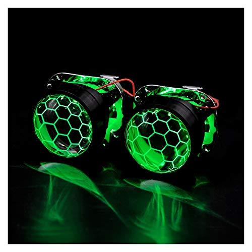 SUNYANG Summer Solstice 2 Piezas de 2.5 Pulgadas de Recubrimiento Azul Honeycomb Mini Bi Xenon Proyector Lens Fit H4 H7Car Faro Faro Faro Motocicleta Motocicleta Kit (Color : Green Demon Eyes)
