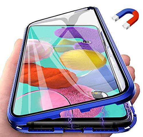 Funda para Xiaomi Redmi Note 9S Adsorcion Magnetica Carcasa 360 Grados Protección Estuche, Doble Untre Delgada Háptico Vidrio Templado + Metal Bumper con Adsorción Magnética Carcasa, Azul
