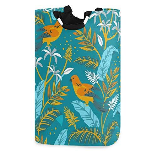 N\A Pflanzenblumen und Vögel Wäschekorb, wasserdichter und Faltbarer Wäschesack mit Griffen für Baby Nursery College Dorms Kinderzimmer Badezimmer