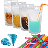 100 Pcs Zipper Plastic Pouches Drink Bags,Heavy Duty Hand-Held Translucent frosted Reclosable Stand-up Bag 2.4' Bottom Gusset with 100pcs Straws & Funnel Included