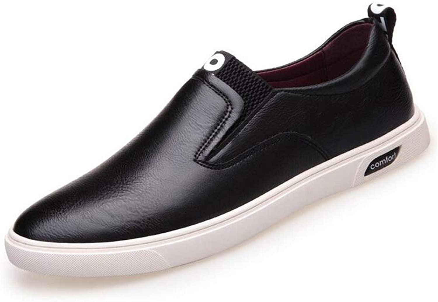 Y-H Men's Casual shoes, Spring Fall Loafers & Slip-Ons Lazy shoes, Formal Business shoes, Flat Slip-Ons Driving shoes,Black,43