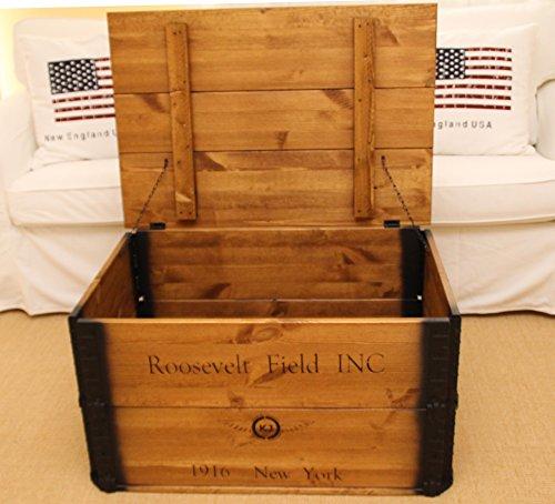 Uncle Joe´s Truhe Roosevelt Couchtisch Truhentisch im Vintage Shabby chic Style Massiv-Holz in braun mit Stauraum und Deckel Holzkiste - 5