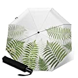 Premium Windproof Umbrella,Fern Leaves Travel Folding Automatic tri-fold Umbrella Compact Umbrella Lightweight Sun&Rain Umbrella