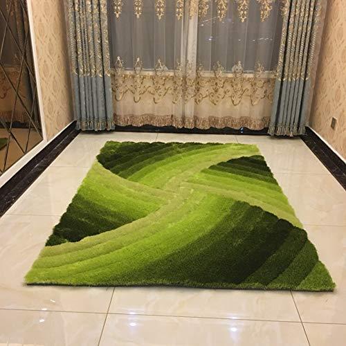 3D Stereo-helle Seide Sammlung Teppich, Lebendige Linien Hohe Stapelhöhe Weich Und Locker Bereichswolldecke -grün 160x230cm