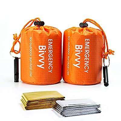 BesWlz Emergency Sleeping Bags 2 Pack Survival Sleeping Bags with Survival Whistle,Waterproof Portable Bivvy Sack Survival Gear for Outdoor Camping Hiking with 2 PCS Thermal Emergency Blankets