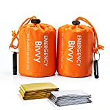 BesWlz Emergency Sleeping Bags,2 Pack Survival Sleeping Bags with Survival Whistle,Waterproof Portable Bivvy Sack Survival Gear for Outdoor Camping Hiking with 2 PCS Thermal Emergency Blankets