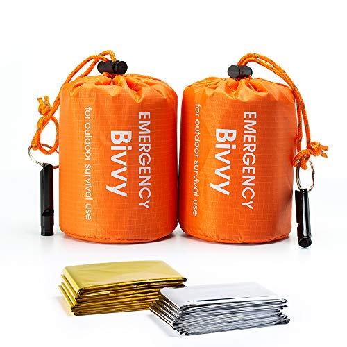 Shayson Sacco a Pelo d'Emergenza,Coperta di Sopravvivenza Riutilizzabile,Isolamento Termico Esterno Arancione Interno Rinfrangente 2 pacchi