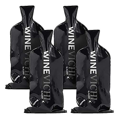 WINEVICHI - 4 pack Reusable Wine Bottle Protector Sleeve for Luggage and Travel Bags ( Black )