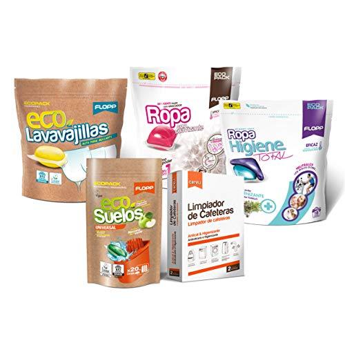 Flopp - Pack Productos Limpieza en Cápsulas Hidrosolubles | Promoción Lavavajillas Eco, Detergente Eco, Friega Suelos Eco. Tu Starter Kit Limpia sin Ensuciar el Planeta Desde Hoy Mismo.