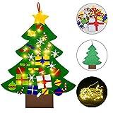 Faburo Árbol de Navidad del Fieltro DIY + 30 Piezas Ornamentos de Navidad + 3 Metros Luces de LED de Navidad, DIY Navidad Decoración Adornos Colgante para Niños