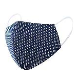 Amphia 5er-Pack Mundschutz waschbar aus 100% Bio-Baumwolle, nachhaltig, Earloop-Design | Wiederverwendbare Behelfs-Abdeckung für Mund Nase in schwarz | Für Brillenträger geeignet (Marine)