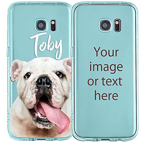 My Printery Funda Personalizada para Samsung Galaxy S7 Edge - Carcasa de Silicona TPU Resistente para Personalizar con Fotos, Imagen, Logotipo - Azul