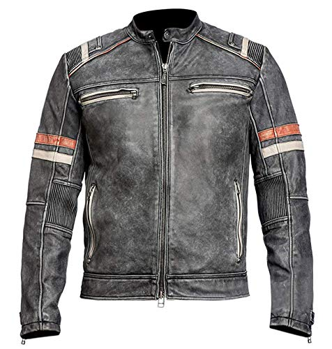 Herren Retro Biker Vintage Cafe Racer Motorrad Distressed Schwarz Lederjacke - - Medium