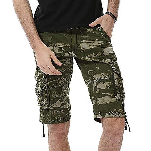 Pantalones Cortos de Estilo Nuevo de Verano para Hombre Tendencia a la Moda Bolsillos de Costura de Combate al Aire Libre Pantalones Cortos Deportivos Informales al Aire Libre Cargo 30