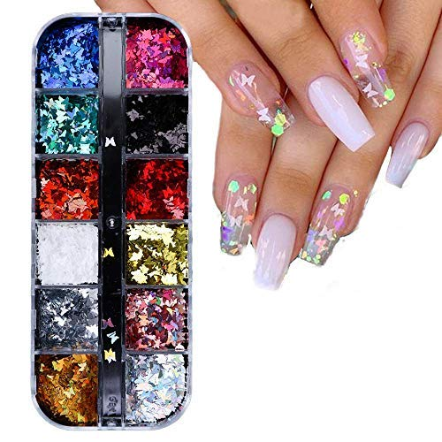 Nail Art Glitter Butterflies, Chunky Laser Butterfly Sequins for Acrylic Nails Decorations, 12 Colors 3D Sequins for DIY Manicure,Body,Eye Makeup