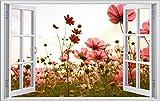 DesFoli Blumen Flowers 3D Look Wandtattoo 70 x 115 cm Wanddurchbruch Wandbild Sticker Aufkleber F247