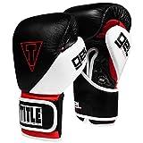 Title Boxing Gel E-Series Training Gloves, Black/White/Red, 16 oz