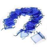 JZK® 50 Piezas bolsa organza azul para boda cumpleaños baby shower joyas pequeñas y otras materias primas pequeñas, 9 x 7 cm