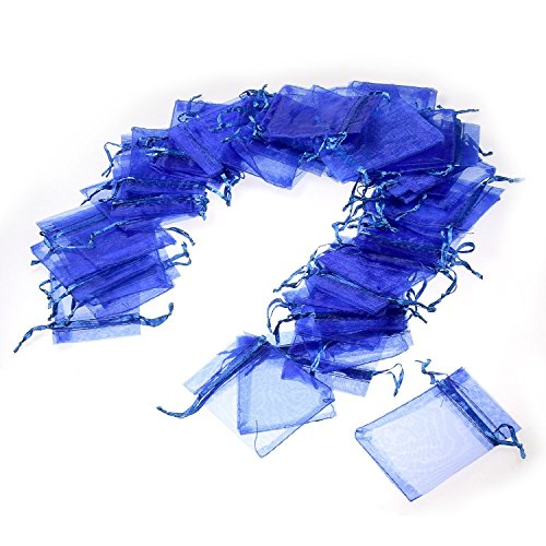 JZK 50 x Blu 7x9cm sacchetti coulisse organza portaconfetti sacchettini portariso bomboniere per matrimonio compleanno battesimo