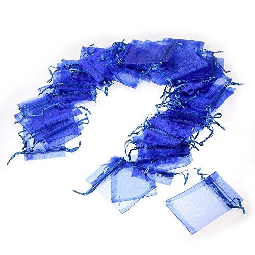 JZK® 50 Piezas bolsa organza azul boda cumpleaños