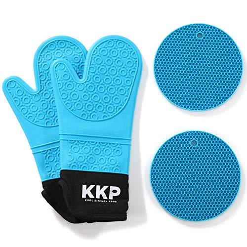 Kool Kitchen Pros Guantes para Horno de Silicona Azules y Salvamanteles de silicona - No Látex - Para Cocinar y Hornear, Manopla y BBQ Guantes Resistentes al Calor y Salvamanteles para Ollas Calientes