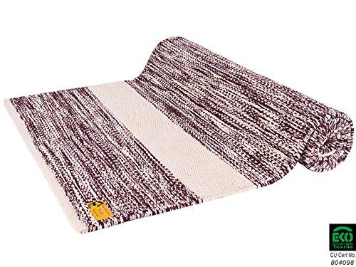 Chin Mudra Tapis de Yoga Taj 100% Coton Bio - 2 m x 66 cm x 5mm - Prune/Ecru