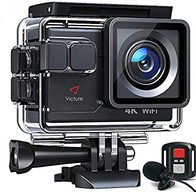Victure Action Camera AC700 4K 30fps/20MP EIS Sports Action Camera PC Webcam with External Microphone Remote Control 40M Underwater Waterproof DV Camcorder with 2 Batteries and Mount Accessories from Victure