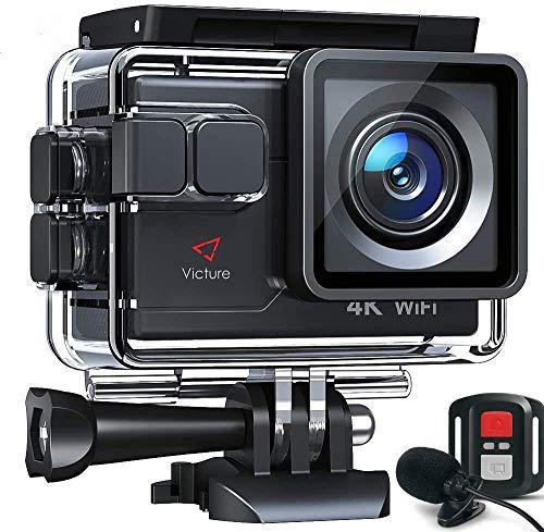 【令和最新】Victureアクションカメラ4K/30fps20MP画素ウェブカメラウェブカメラPCWebカメラウェブカメラ外部マイク対応リモコン付きWiFi搭載手振れ補正40M防水水中カメラ170度超広角レンズ充電可大容量バッテリー2個豊富な付属品付きバイク/自転車/車などに取り付けウェアラブルカメラアクションカム
