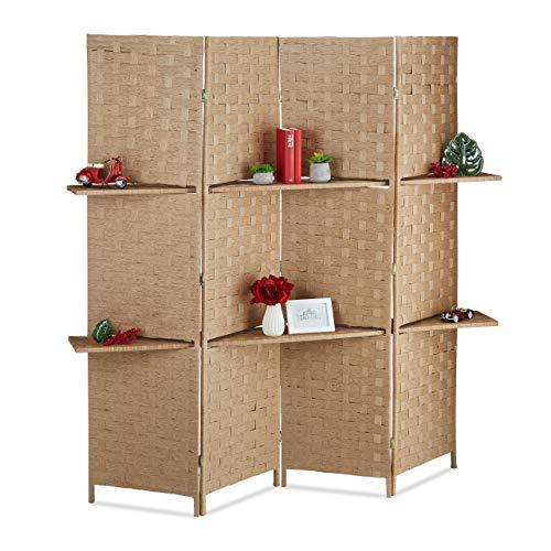 Relaxdays Biombo con estantes, Separador Plegable, Protección de privacidad, 180x170x39 cm, 1 Ud, Marrón, Madera, 180 x 170 X 39 cm