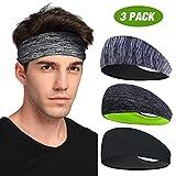 Sport-Stirnband 3 Pack, LATTCURE Herren Stirnband, Schweißband, Stirnband Anti...