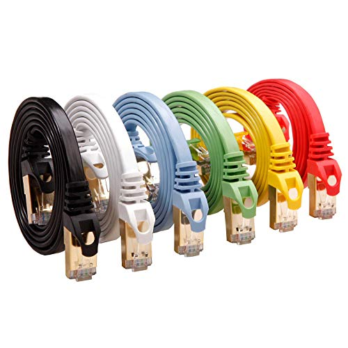 Cat 7 Shielded Ethernet Cable 5 ft 6 Pack (Highest Speed Cable) Cat7 Flat Ethernet Patch Cables - Internet Cable for Modem, Router, LAN, Computer - Compatible with Cat 5e,Cat 6 Network