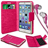 N4U Online®–ZTE Open L PU Leder Saugnapf Pad Brieftasche Schutzhülle und 3,5mm Kopfhörer Stereo Kopfhörer–Hot Rosa