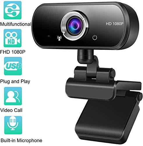 Kdely Webcam PC Full HD 1080P con Micrófono Estéreo, USB Cámara Web Portátil con Reducción de Ruido Diseño Plegable Plug&Play para Videollamadas Grabación Conferencias Compatible