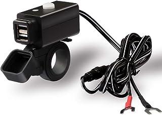 MOOHOP Caricabatterie USB per Moto Impermeabile,3.0 Caricatore Rapido A Doppia Alimentazione,Caricatore del Telefono della Motocicletta,Presa USB 12V,con Interruttore On//off Voltmetro