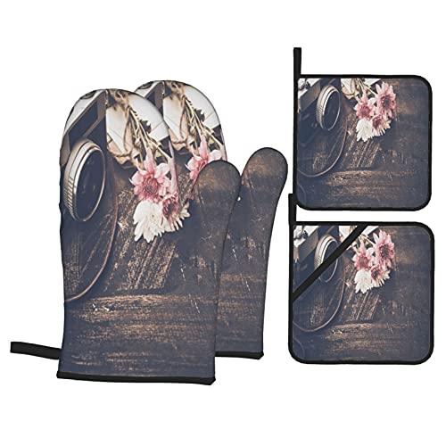 Juegos de Manoplas y Porta ollas para Horno,Flores de Ramo de cámara Vintage en Viejo Guantes de Cocina Resistentes al Calor para Hornear en la Cocina, Parrilla, Barbacoa,BBQ