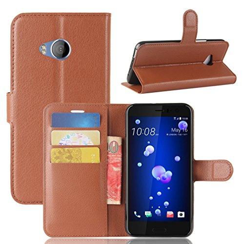 LMAZWUFULM Hülle für HTC U11 Life PU Leder Magnetverschluss Brieftasche Lederhülle Litschi Muster Standfunktion Ledertasche Flip Cover für HTC U11 Life Braun