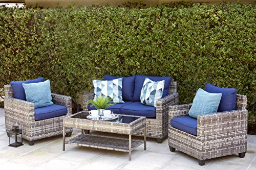 Quality Outdoor Living 65-57373 Austin All-Weather 4 Piece Deep Seating Set, Grey Wicker + Blue Cushions