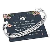 M MOOHAM Whenever You Feel Overwhelmed Remember Whose Best Friend Bracelet Straighten Your Crown Bracelet, Friendship Bracelet Friend Gifts Engraved Inspirational Quote Bracelet for Women